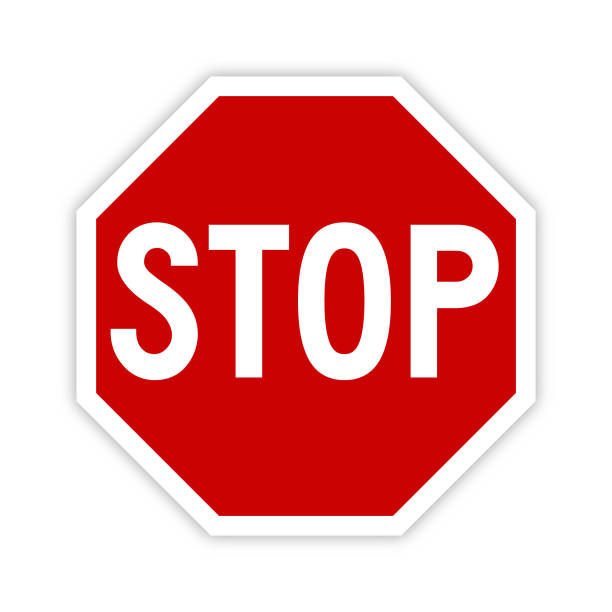 Stop sign icon with shadow - Vector Stop sign icon vector illustration with shadow on white background. stop stock illustrations