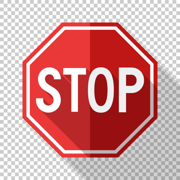 Stop sign in flat style with long shadow on transparent background Stop sign in flat style with long shadow on transparent background stop stock illustrations