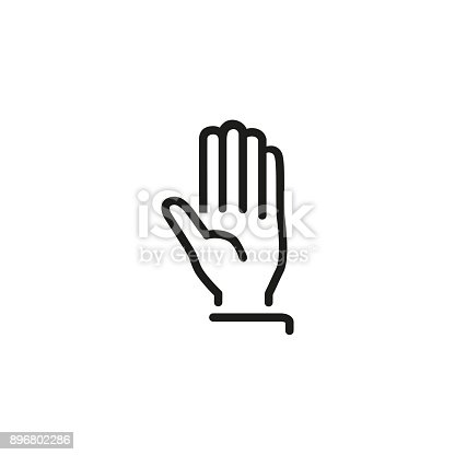 Line icon of stop sign. Attention, friendship. Gesture concept. Can be used for topics like communication, hand signs, body parts