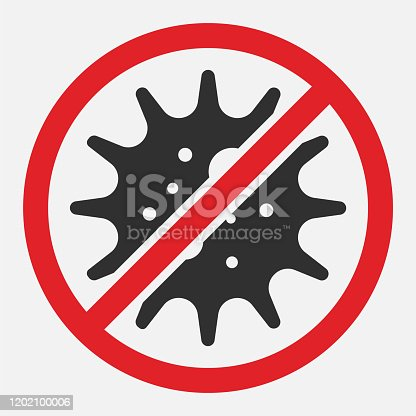 Stop sign of virus, bacteria, germs and microbe isolated on white background. Vector illustration. Eps 10.