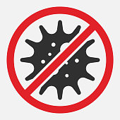 istock Stop sign of virus, bacteria, germs and microbe isolated on white background. Vector illustration. 1202100006