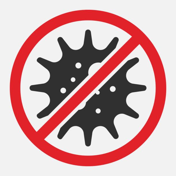 白い背景に分離されたウイルス、細菌、細菌および微生物の徴候を停止する。ベクトルのイラスト。 - 衛生点のイラスト素材/クリップアート素材/マンガ素材/アイコン素材