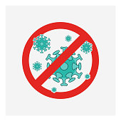 Stop sign of virus, bacteria, germs and microbe,vector icon. EPS 10.