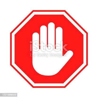 Stop sign. Red forbidding sign with human hand in octagon shape. Stop hand gesture, do not enter, dangerous. Vector