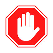 istock Stop sign. Red forbidding sign with human hand in octagon shape. Stop hand gesture, do not enter, dangerous 1221686500