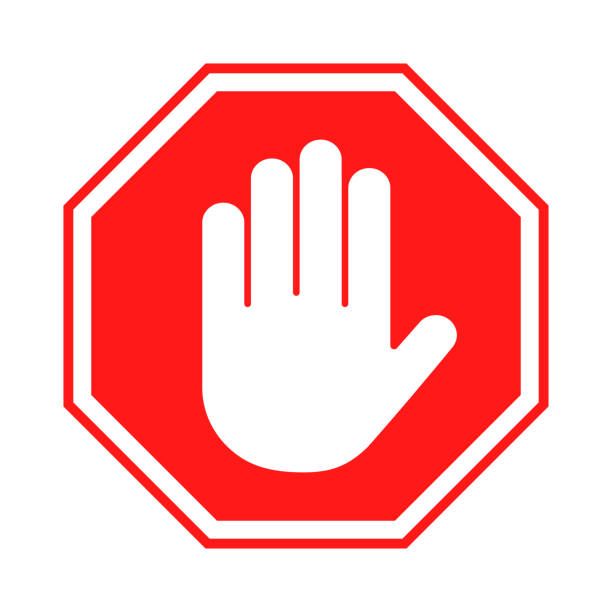 Stop sign. Red forbidding sign with human hand in octagon shape. Stop hand gesture, do not enter, dangerous vector art illustration