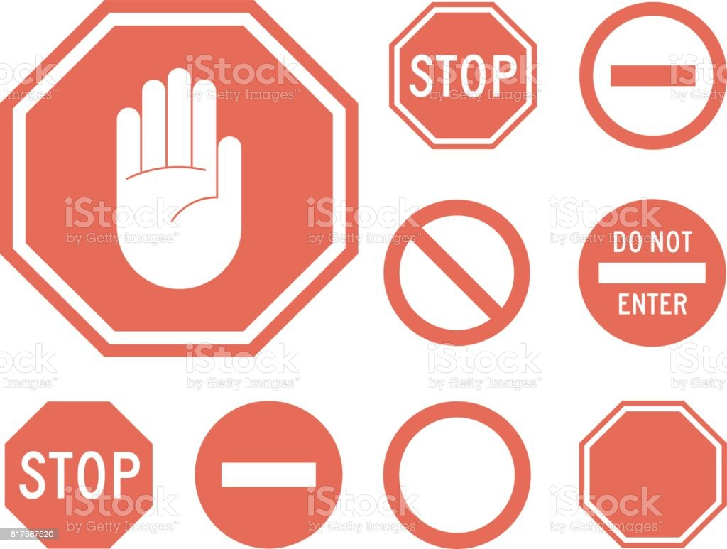 Stop signs collection in red and white vector art illustration