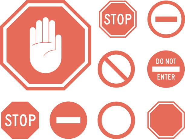 Stop signs collection in red and white Stop signs collection in red and white, traffic sign to notify drivers and provide safe and orderly street operation. Vector flat style illustration isolated on white background stop stock illustrations