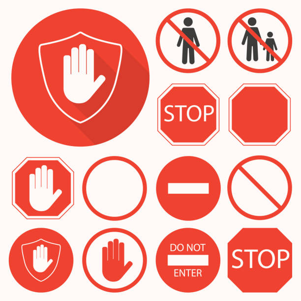 stopp-schilder sammlung. hand, achteck, kreis, schild schilder für verbotene aktivitäten zu stoppen - ausstoßen stock-grafiken, -clipart, -cartoons und -symbole