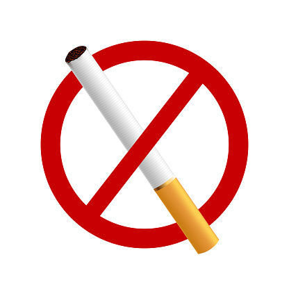 Stop Smoking A Realistic Cigarette On A White Background In A Red Circle Stock Illustration - Download Image Now - iStock