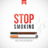 Stop smoking banner with 3D realistic cigarettes, smoke and warning text. Stop smoking vector illustration.