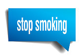 stop smoking blue 3d square isolated speech bubble