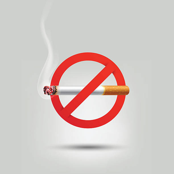 Stop smoking, cigarette burning prohibition sign, vector vector art illustration