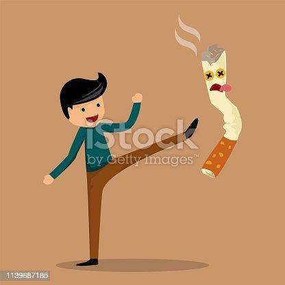 Stop smoking concept , the man success to stop smoking . vector illustration design.