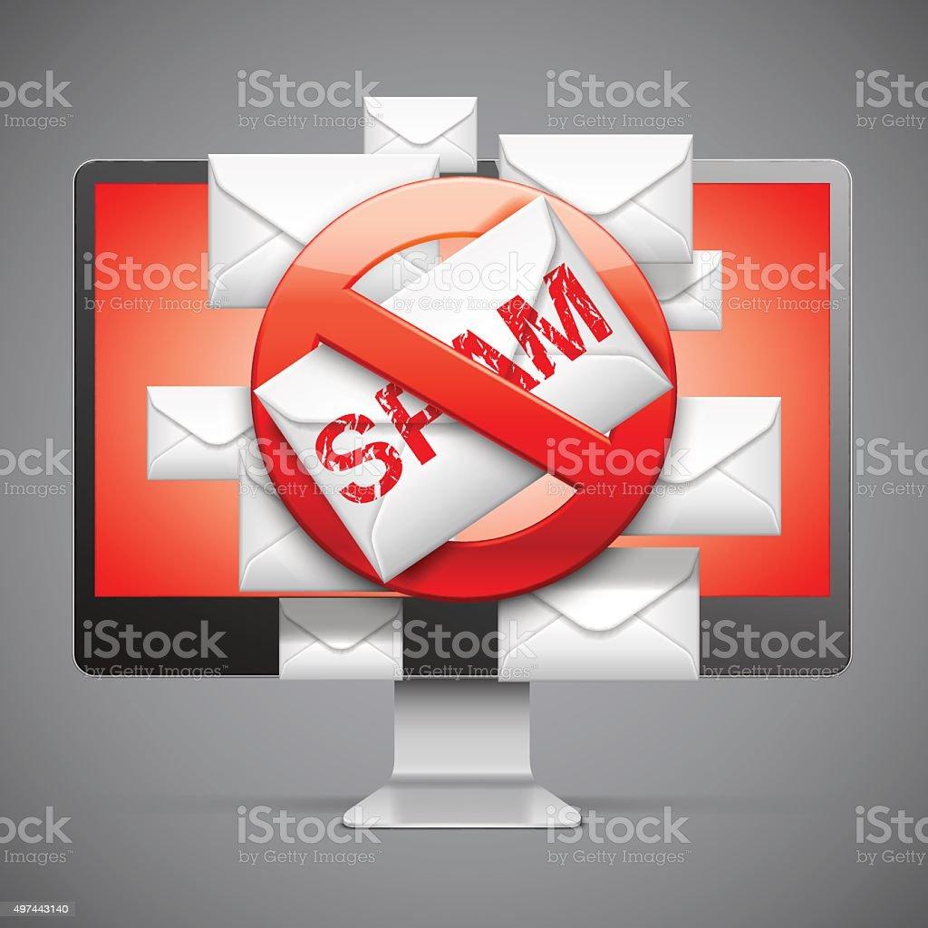 Stop Spam Sign vector art illustration