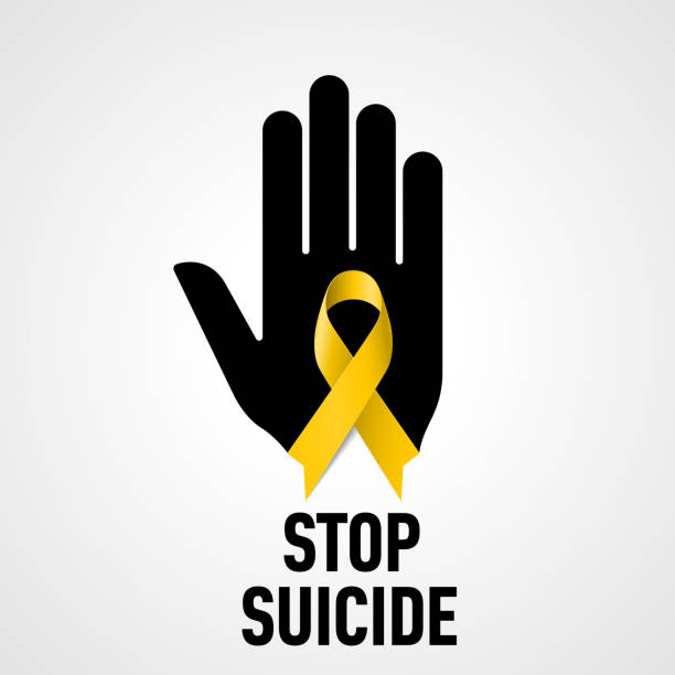 Stop Suicide sign Stop Suicide sign.  Black hand with yellow ribbon on white background suicide stock illustrations