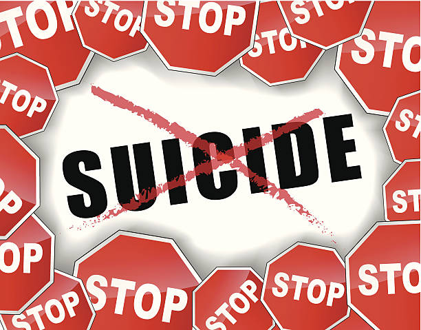 Stop suicide Vector illustration of stop suicide concept background suicide stock illustrations
