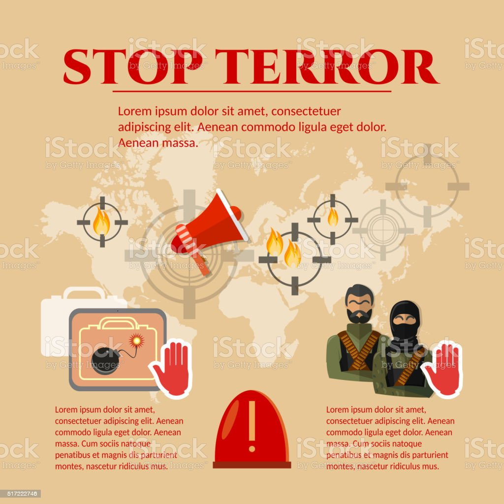 Stop terrorism concept global threat world terror vector art illustration