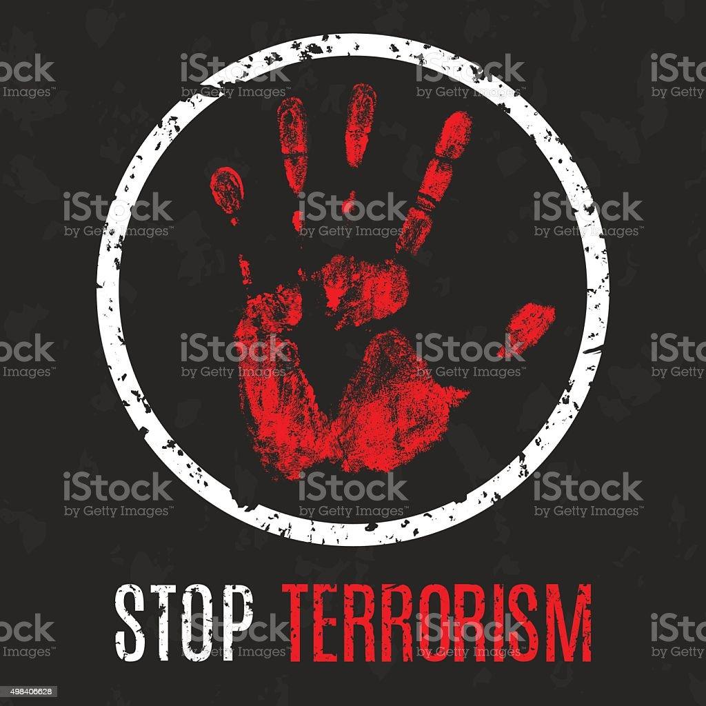 stop terrorism sign vector art illustration