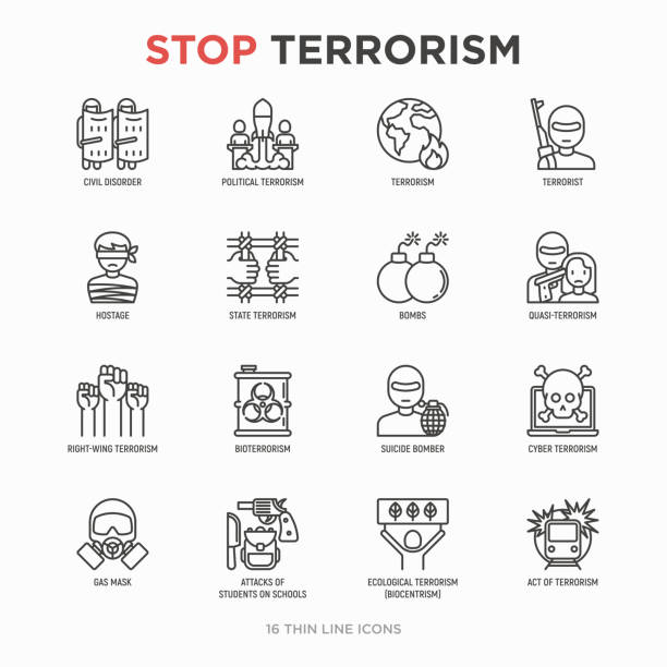 Stop terrorism thin line icons set: terrorist, civil disorder, national army, hostage, bombs, cyber attacks, suicide, bomber, illegal imprisonment, bioterrorism. Modern vector illustration. Stop terrorism thin line icons set: terrorist, civil disorder, national army, hostage, bombs, cyber attacks, suicide, bomber, illegal imprisonment, bioterrorism. Modern vector illustration. terrorism stock illustrations