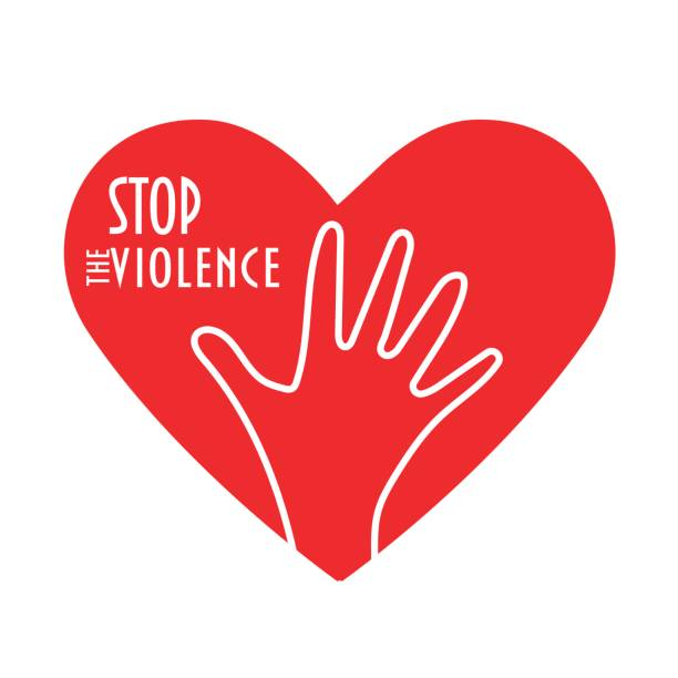 stop the violence concept vector illustration. heart shape, enough hand sign and text: stop the violence. - child abuse stock illustrations