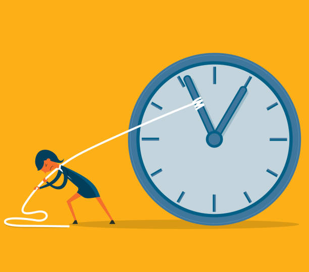 Stop time - Businesswoman businesswoman trying to turn back time slow motion stock illustrations