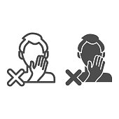 Stop touch face line and solid icon. Man touches face with hand and spread virus outline style pictogram on white background. Covid-19 prohibition for mobile concept and web design. Vector graphics