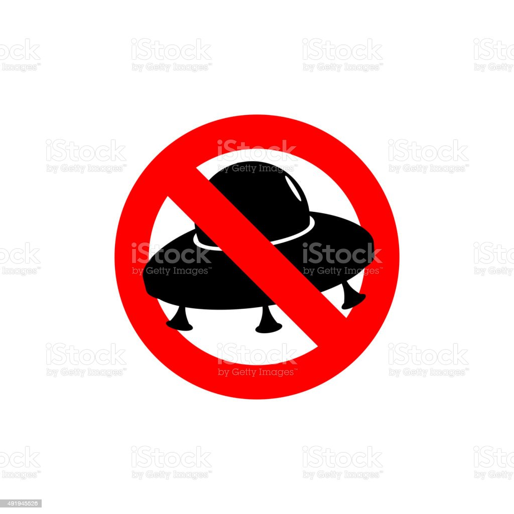 stop ufo prohibited from flying saucer frozen silhouette space stock