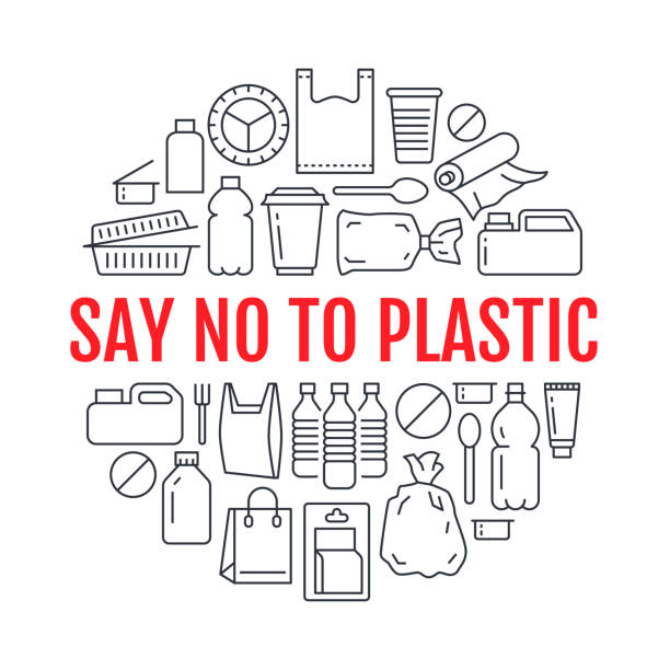 Stop using plastic circle template with flat line icons. Polyethylene pollution awareness vector illustration for poster. Thin signs of plastics waste, bag, package, canister, bottle, food container Stop using plastic circle template with flat line icons. Polyethylene pollution awareness vector illustration for poster. Thin signs of plastics waste, bag, package, canister, bottle, food container. plastic stock illustrations