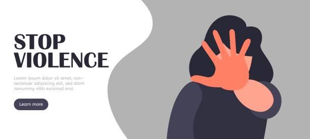illustrazioni stock, clip art, cartoni animati e icone di tendenza di stop violence vector landing vector concept. abuse - violenza donne