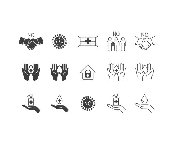 stop virus icon set. pandemic medical concept. stop coronavirus. - social distancing stock illustrations