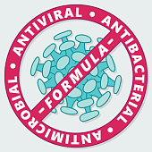 Simple freehand anti viral, anti bacterial label. EPS10 vector illustration, global colors, easy to modify.