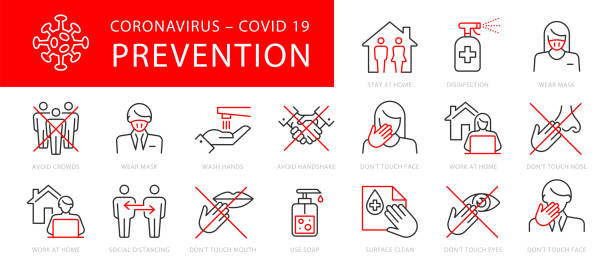 stop virus outline icon set - covid stock illustrations