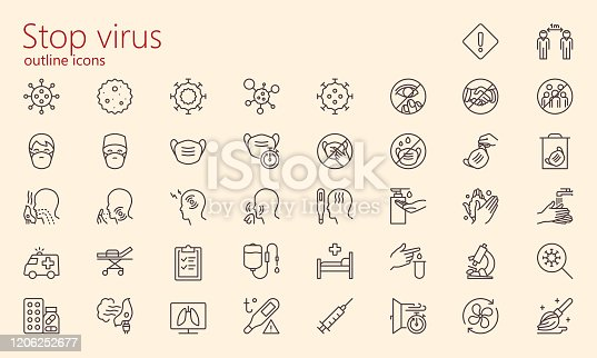 Virology medical outline icon set. Was created with grids for pixel perfect (if use minimal icon size 128x128px)