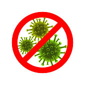 Stop viruses sign. Vector red Stop sign and viruses behind it.