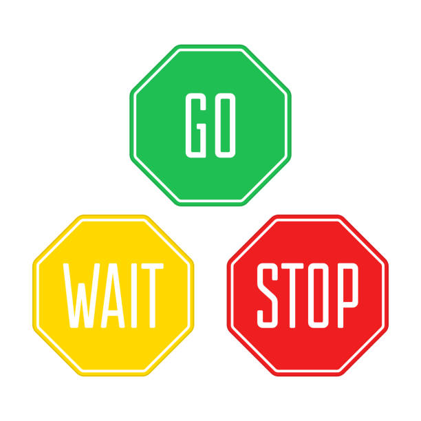 stop wait go sign. - в пути stock illustrations
