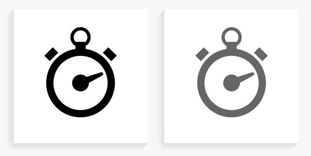 Stop Watch Black and White Square Icon vector art illustration