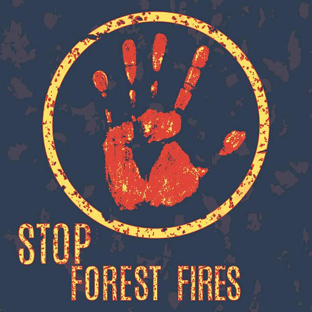 bildbanksillustrationer, clip art samt tecknat material och ikoner med stop wildfires sign - skog brand