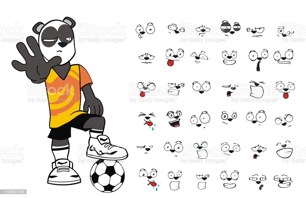 cb154db2905 Mexico, Anger, Animal Body Part, Animal Head, Bear. stop young panda bear  cartoon soccer uniform expressions collection royalty-free ...