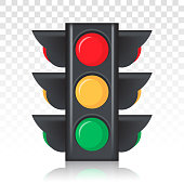 Stoplight / Traffic control light sign vector icon for apps and websites