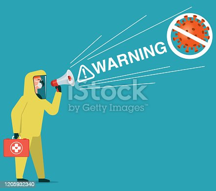 Man in chemical protection suit stops the virus. Coronavirus 2019-nCoV. stock illustration