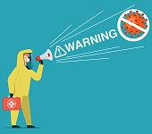 Man in chemical protection suit stops the virus. Coronavirus 2019-nCoV. stock illustration