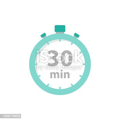 Stopwatch 30 min icon flat style. Vector eps10