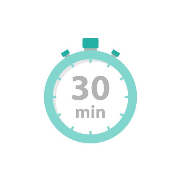 bildbanksillustrationer, clip art samt tecknat material och ikoner med stopwatch 30 min ikon platt stil - nummer 30