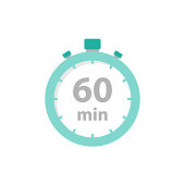 istock Stopwatch 60 min icon flat style 1203718988