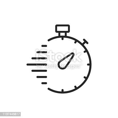 istock Stopwatch, Delivery Line Icon. Editable Stroke. Pixel Perfect. For Mobile and Web. 1137445617