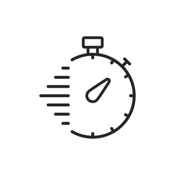illustrations, cliparts, dessins animés et icônes de chronomètre, icône de ligne de livraison. contour modifiable. pixel parfait. pour mobile et web. - chronomètre