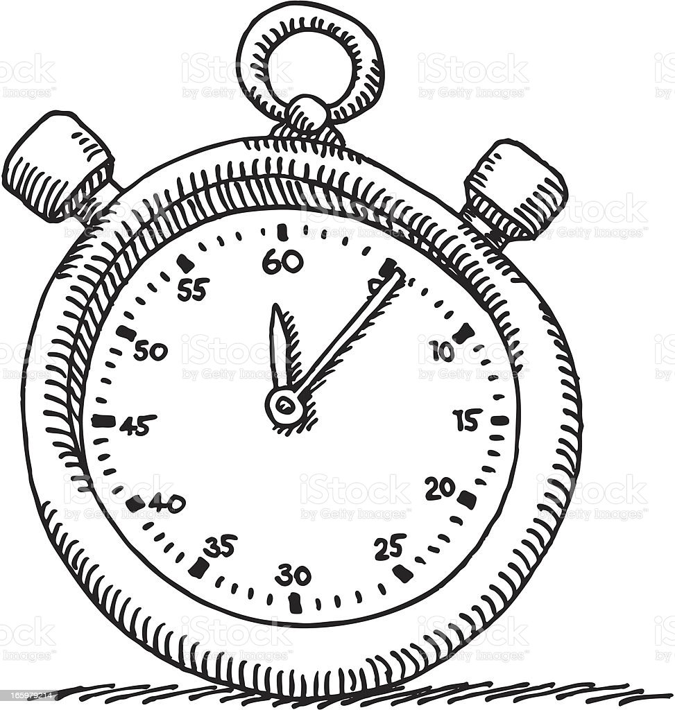 Stopwatch Drawing royalty-free stock vector art