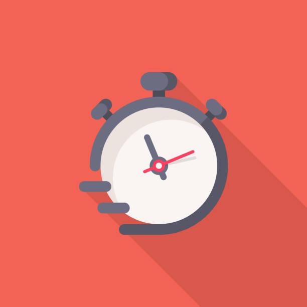 stockillustraties, clipart, cartoons en iconen met stopwatch plat icoon. pixel perfect. voor mobiel en internet. - tijd