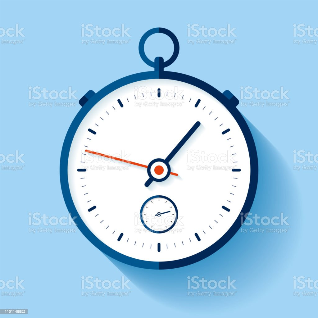 Stopwatch icon in flat style, round timer on color background. Sport...
